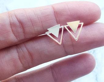 Triangle Twain Earrings, Triangle stud Earrings, Geometric Earrings, silver Earrings, Geometric Jewelry, Minimalist Jewelry, Triangle post