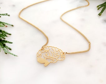 Brain Necklace Gold, Anatomical Jewelry, Medical Jewellery, Zombie Necklace, Anatomy Necklace, Minimalist Biology necklace, gift for mum