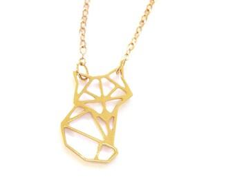 FOX ORIGAMI NECKLACE, Geometric fox necklace , gold fox tiny fox pendant, Origami Necklace, Gold Geometric Jewelry, Renard collier bijox