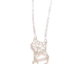 FOX ORIGAMI NECKLACE, Geometric fox necklace, Silver fox, tiny fox pendant, Origami Necklace, Silver Geometric Jewelry, Valentine gift idea