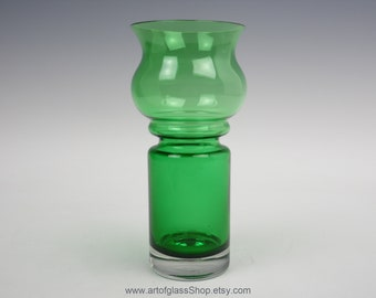 A Pair Of Riihimaki Riihimaen 'carmen' Glass Candlesticks Design Tamara Aladin Art Glass