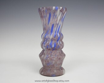 Pottery & Glass Reasonable Vintage End Of Day Blue Cased Spatter Glass Trophy Vase