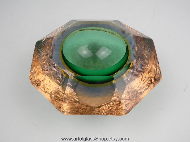 Vintage Murano sommerso green yellow & blue 'geode' image 0