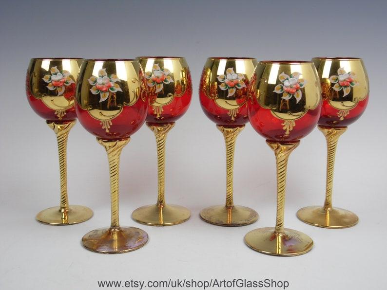Set of 6 Murano gold gilded enamelled red glasses image 0