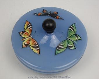 Vintage 1930s Art Deco Bohemian blue glass powder bowl/trinket box