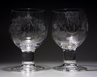 "2 Hilary Virgo engraved Dartington 6"" Compleat Imbiber glasses"