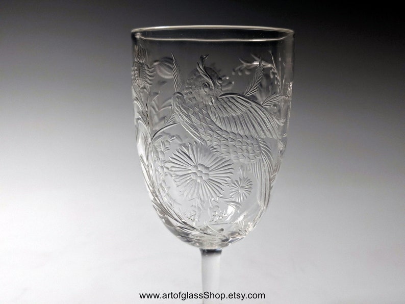 Stevens & Williams intaglio exotic birds sherry glass 2 image 0