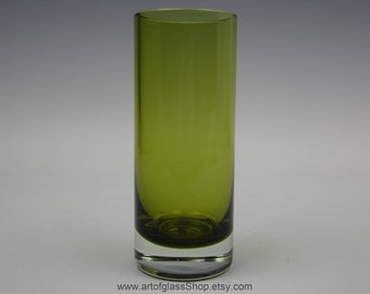 Caithness 1960s/70s green coloured cylinder glass vase