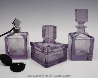 3 piece Bohemian vintage mauve glass vanity set 1930s 1950s
