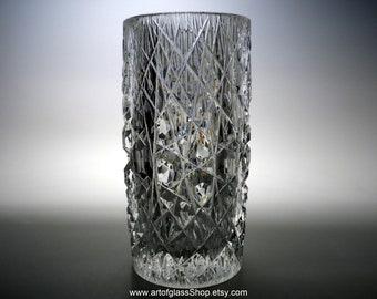 Vintage Podebrady cut glass vase by Josef Pravec