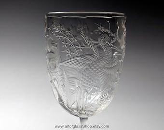 Stevens & Williams intaglio exotic birds glass #4