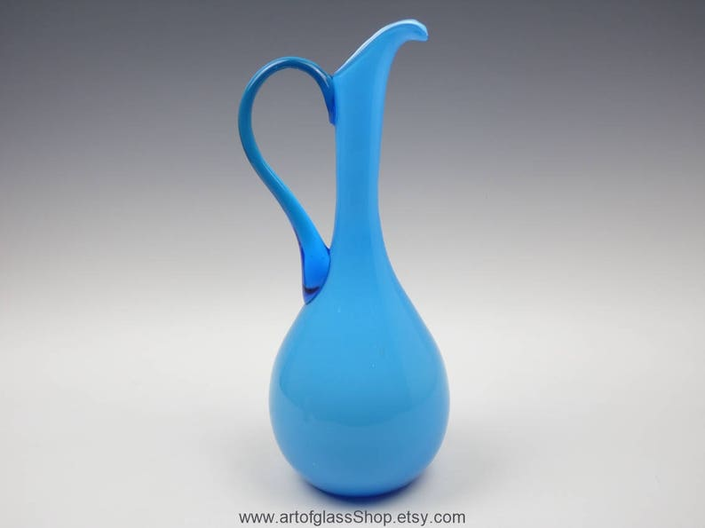 Italian Empoli blue cased decorative glass jug/vase image 0