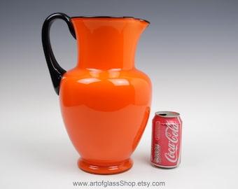"HUGE 13"" tall Loetz Michael Powolny orange & black tango glass pitcher jug vase"