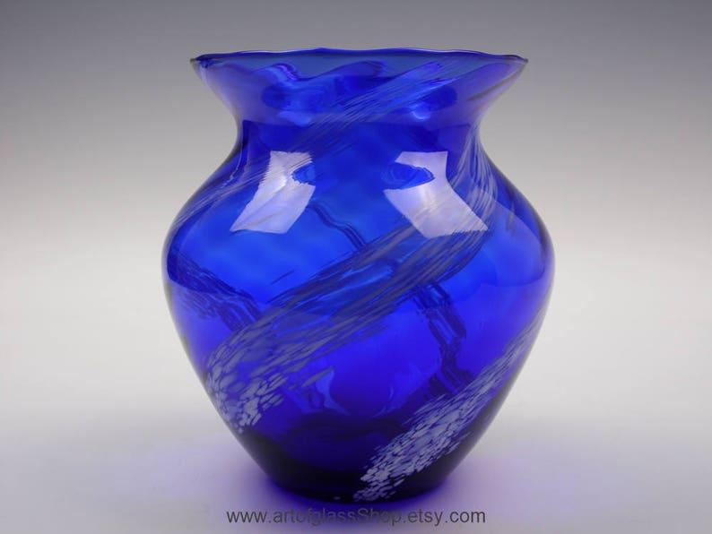 Cobalt blue glass vase with white spots image 0