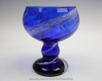Vintage 1960s/1970s Continental  cobalt blue coloured glass vase with white spots