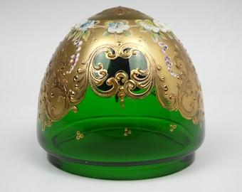 Bohemian/Murano gold gilded enamelled green glass lamp shade