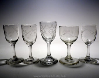 Mixed collection of 5 small antique etched/engraved wine glasses