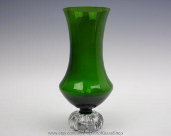 Vintage 1960s green Aseda glass vase