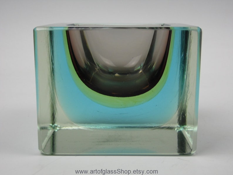 Murano sommerso burgundy yellow and blue glass bowl image 0