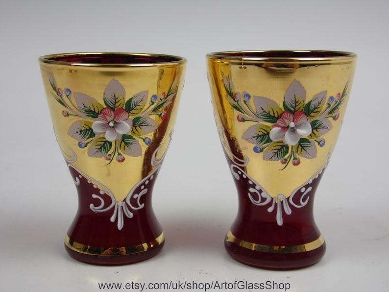Pair of Murano gold gilded enamelled red shot glasses image 0