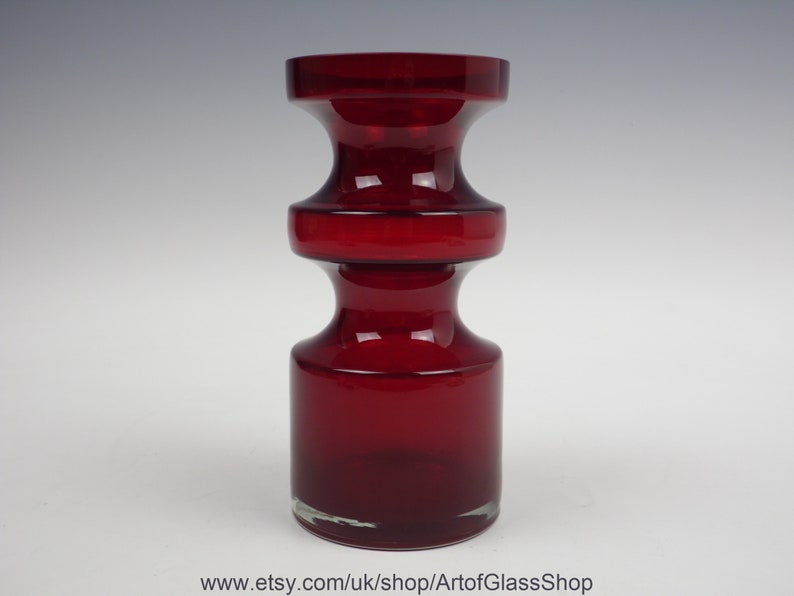Vintage 1960s/1970s Alsterfors red glass vase by Per-Olof image 0