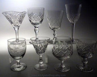 Collection 8 vintage lead crystal cut glasses