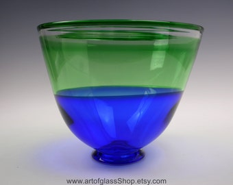 Large blue & green Twists Glass bowl by Mike Hunter
