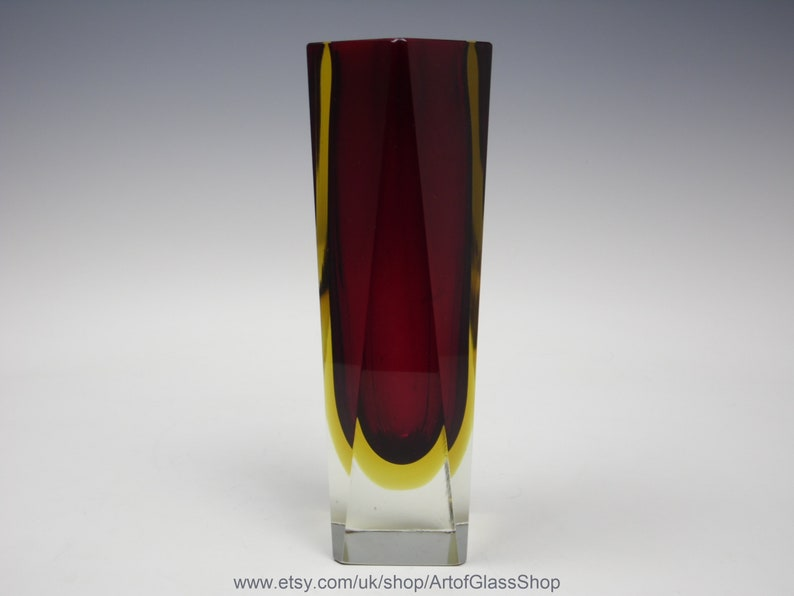 10 tall vintage Murano sommerso red/yellow glass vase image 0