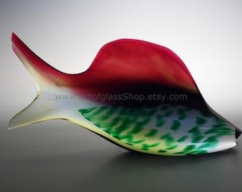 Exbor glass fish sculpture by Josef Rozinek and Stanislav Honzik