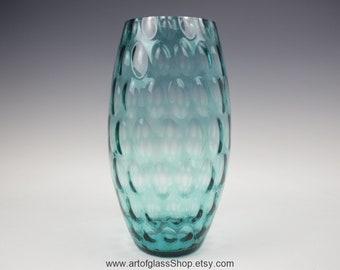 "13.75"" tall Borske Sklo blue coloured glass vase"