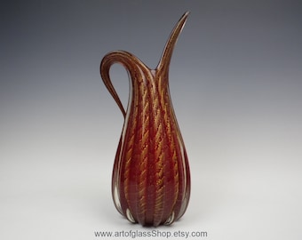 Large 'rosso oro cordonato' vintage Murano AVEM ruby glass vase with gold leaf inclusions