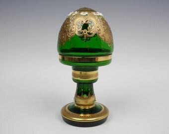 Bohemian/Murano gold gilded enamelled green glass lamp
