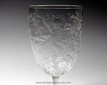 Antique Stevens & Williams intaglio exotic birds drinking glass