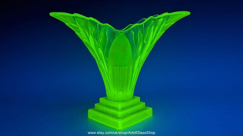 Walther 1930s Art Deco Greta uranium green pressed glass vase image 0