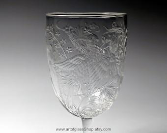Stevens & Williams intaglio exotic birds glass #2