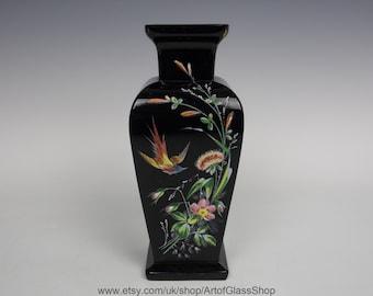 Antique opaque black glass vase with enamelled decoration
