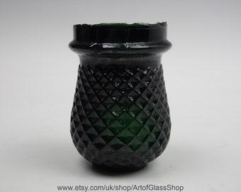 Antique Victorian dark green glass Christmas/fairy/night/tea light votive #2