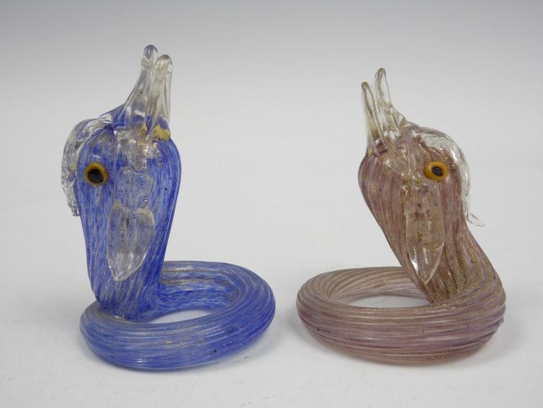 2 Antique Venetian Murano serpent/fish glass name card holders image 0