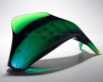 Exbor glass leaping fish sculpture by Josef Rozinek and Stanislav Honzik