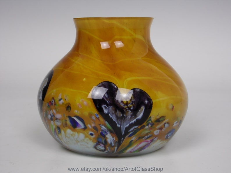 Caithness Cadenza amber glass posy vase by Colin Terris image 0