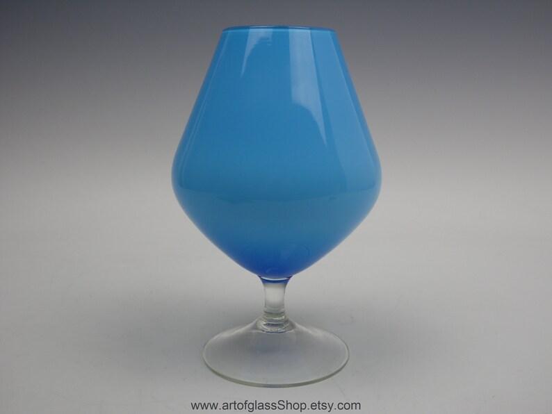 Retro vintage blue pedestal decorative glass brandy image 0