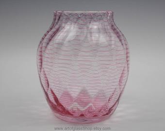 Vintage 1920s/1930s pink threaded, diamond optic glass vase