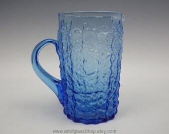 Vintage Italian blue 'bark' textured  glass jug