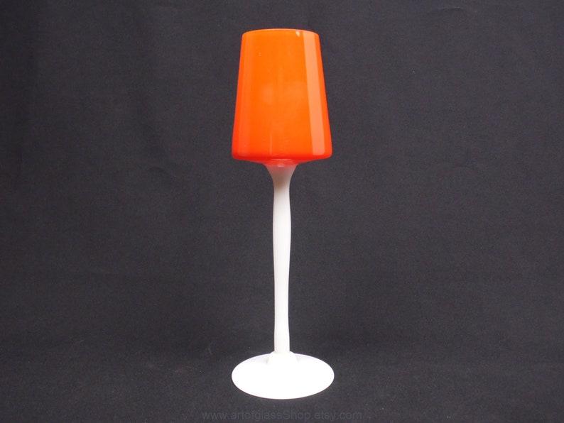Vintage 1960s/1970s Italian Empoli orange glass posy vase image 0