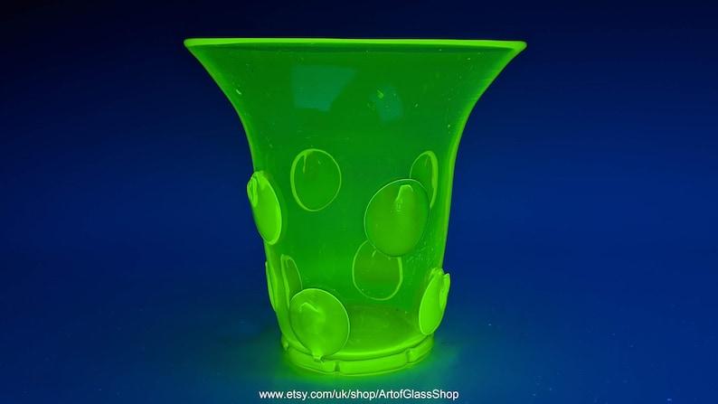 Vintage 1930s uranium green glass vase image 0
