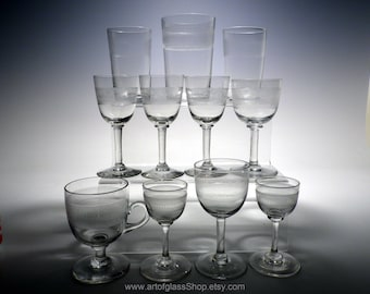 Collection of 11 antique machine etched/engraved glasses/tumblers