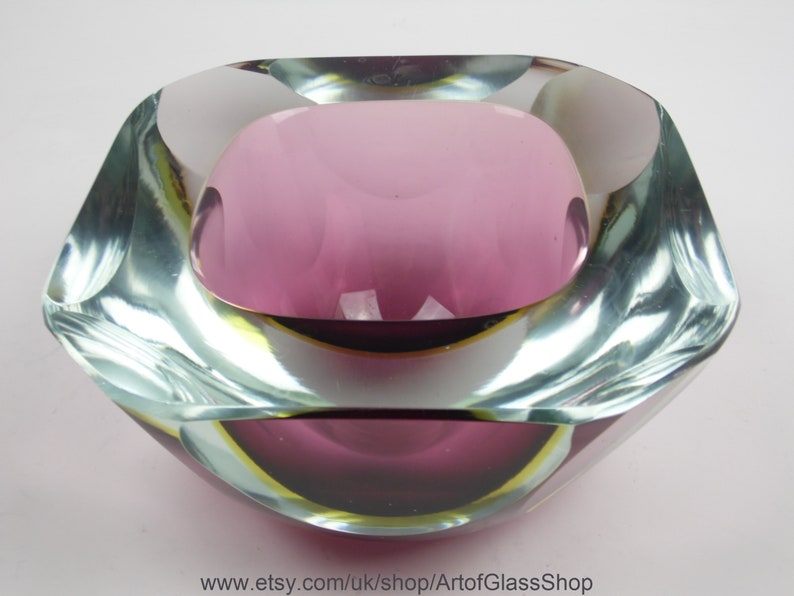 Large vintage Murano sommerso cranberry and yellow glass bowl image 0
