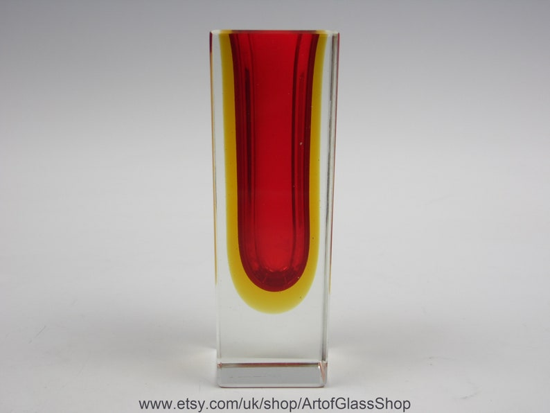 Vintage Murano sommerso red & yellow glass posy vase image 0