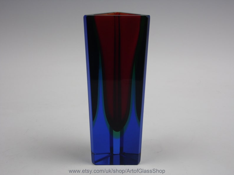 Vintage Murano sommerso red uranium green & blue glass posy image 0