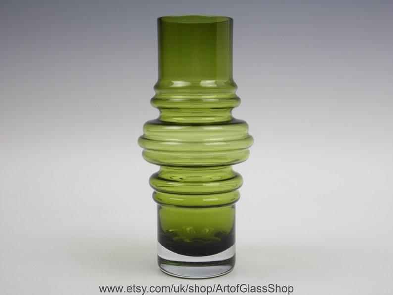 Vintage 1970s Riihimaki 'Tulppaani' olive green glass image 0